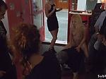 Petite blonde dp banged in bar in public