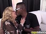 Experienced blonde MILF got a massive black dong smacki