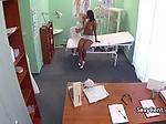 Ebony gal fucks doctor after nurse