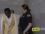 Wrondoing pimp is coerced by perverted milf cops into r