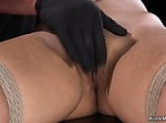 Hairy pussy sub fingered and whipped