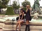 Brunette gets double pussy penetration in public