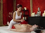 Skillful Asian masseuse gives handjob and fuck