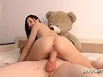 Slutty brunette with small tits sucks and rides big har