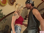 Busty teen babysitter flirts with a...