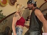 Busty teen babysitter flirts with a...
