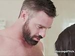 Banging big tit black masseuse during massage
