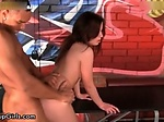 Sexy brunette babe gets her pussy fucked hard from behi