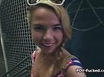 Blonde teen spinner blows dark meat POV style
