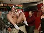 Busty babe fucked in public pool bar