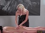 Chloe gives Adria a nice back massage before licking pu