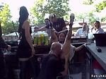 Petite slut disgraced in group in public