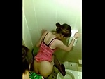 Cute asian chick caught fucking in a public restroom by