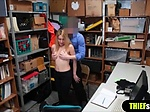 Cute blonde shoplifter fucks for her freedom on CCTV