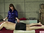 Busty asian masseuse rides clients cock