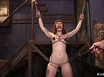 Master made redhead gags on huge dick