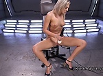 Blonde fucks machine and squirts
