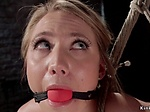 Blonde slave whipped and fingered in hogtie
