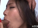 Double penetration for cute Asian