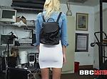 Ditzy blonde takes directors big black cock during stea