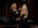 Busty blonde mistress anal fucks slave