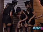 Tranny squad in uniform gangbang hetero lucky guy anal