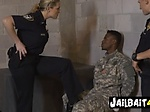 Perverted milf cops take turns to blow and ride on phon