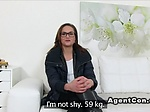 Fake agent bangs brunette with glasses in office