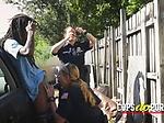 Blonde MILF cop rides black cock outdoors