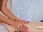 Hot lesbian masseuse fingers brunette