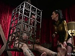 Busty mistress torments male in cage