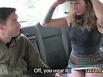 Female taxi driver fucks guy on backseat