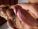 Shemale plays with her huge cock