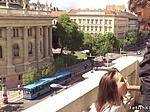 Euro slut banged at balcony