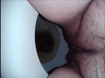 Hairy woman shit and piss on the toilet