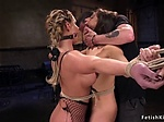 Hogtied lesbians in extreme position