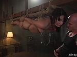 Baldheaded master banging tied up babe