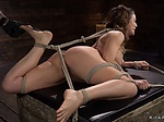Busty Milf gets feet tormented in bondage