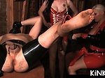 Mistress gets fake dick sucked