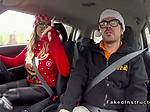 Huge tits blonde has Xmas driving school fuck