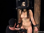 Gagged and nipples clamped slave