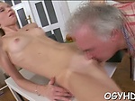 Old dude fucks young juicy pussy