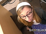 Nerdy chick with glasses takes directors cock in doggys