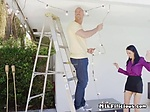 Pretty Cougar Angie Noir Sucks On Handymans Cock