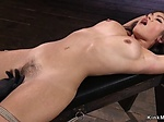 Hairy Asian beauty whipped in hogtie