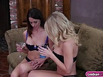 Busty Katie and Eva enjoy their pussylicking moments Eva long and Katie Morgan were on the couch having some liquior Th...