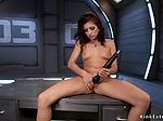 Redhead spinner and ebony fucks machine