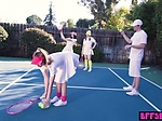 Unusual tennis session with petite besties outdoor