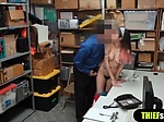 Cute brunette with hairy pussy fucked by a mall cop