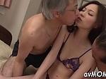 Three guys and one horny Asian slut